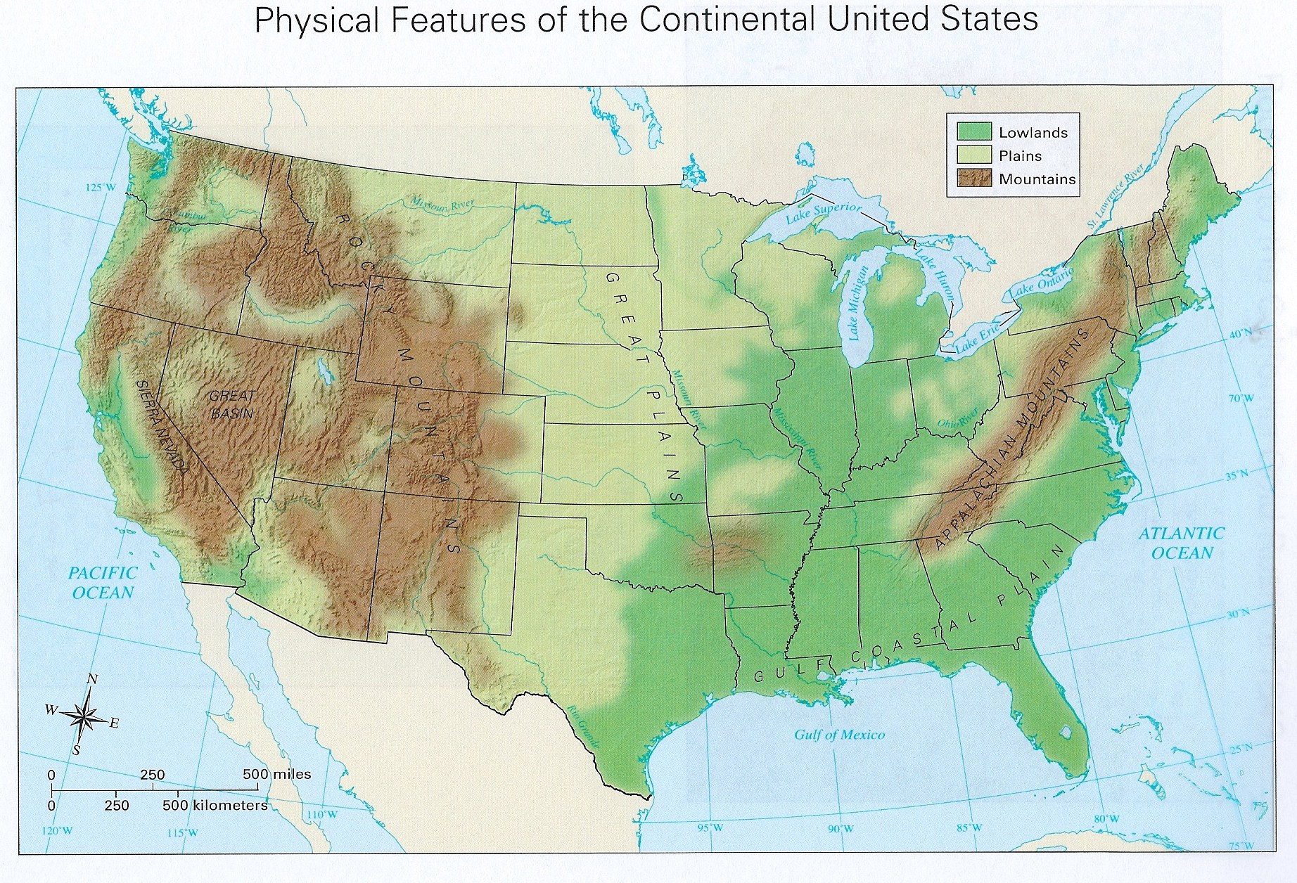 USA Physical Map DOWNLOADABLE AND PRINTABLE MAPS Social US - Us physical features map labeled